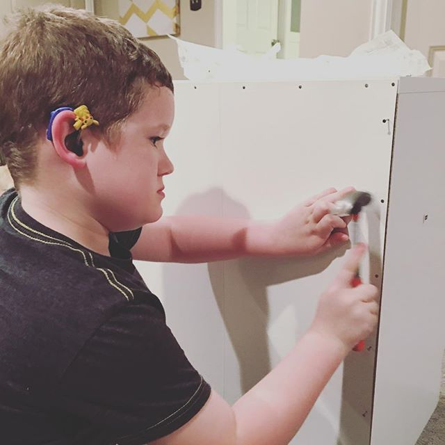 Helping put together Meme's nightstand
