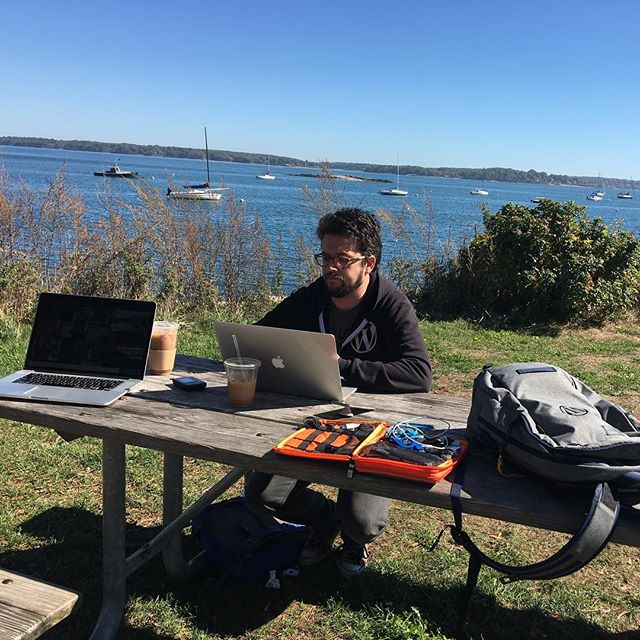 @roccotrip and I worked a few hours beachside at the Eastern Promenade. #travelmattic #officetoday