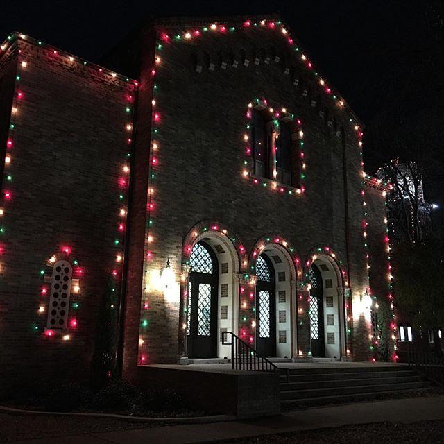 The Hardin building at MSU, lit up for Fantasy of Lights