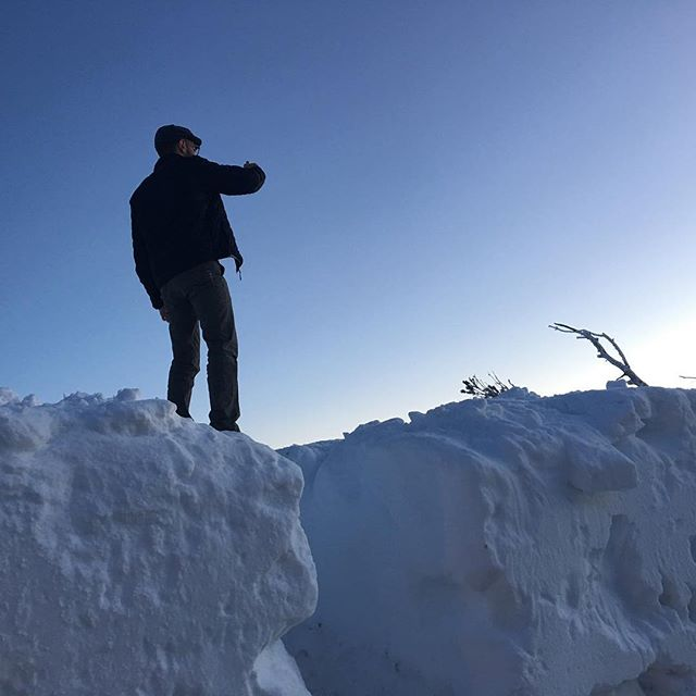 Miguel and I had to climb this snow bank to get a picture of the sunset from mount rose.