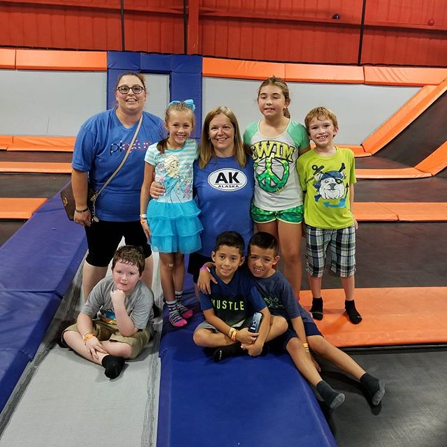 Mrs Donna came back to Wichita Falls and took her old students to the trampoline park