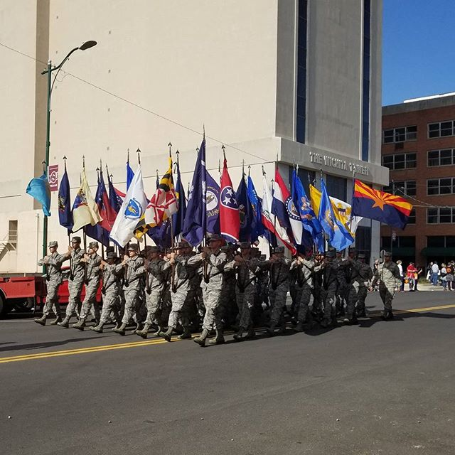 Flags at the Veteran's Day parade yesterday