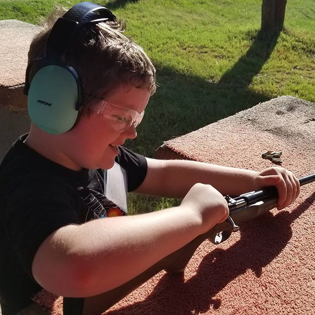 Hero enjoyed trying out his new 22 rifle today