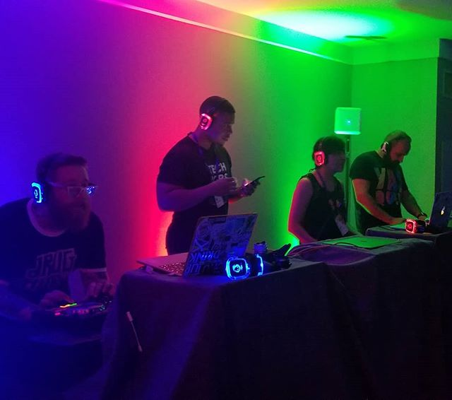 Silent disco. Pick which DJ you listen to by the color of the headphones. #a8cgm