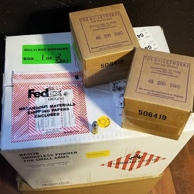 Picked up 1000 SWC bullets in Breckenridge on Saturday. The gun powder, primers, and other supplies came in today. Looking forward to reloading soon 😀