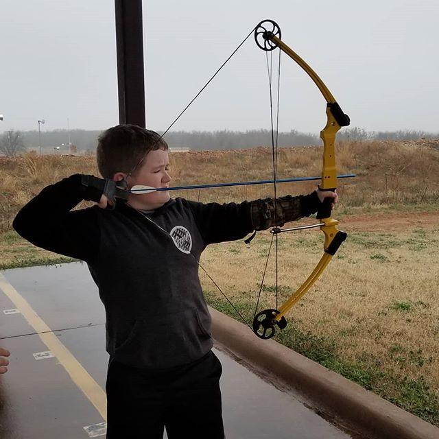Last week was Hero's first archery practice