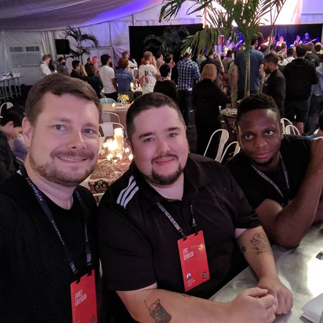 James, Oli, and myself at the #a8cgm party