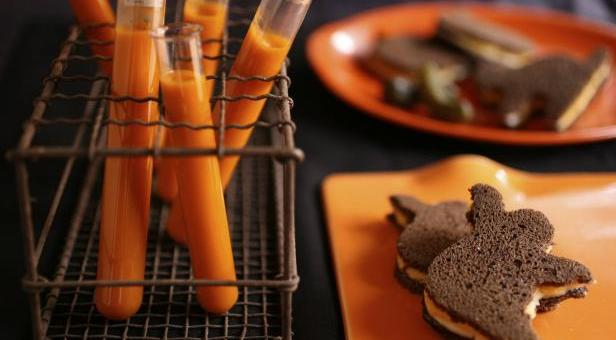Quick and East Halloween Treats Featuring Vampire Blood Tomato Soup with Muenster Sammies