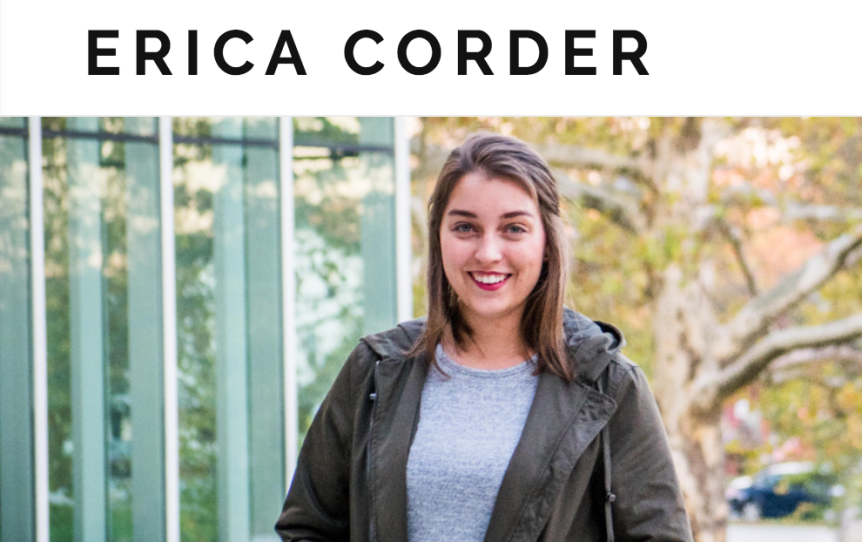 """Screenshot of a photo of a young woman (Erica Corder) with the text, """"Erica Corder,"""" hovering above in black text on a white background."""