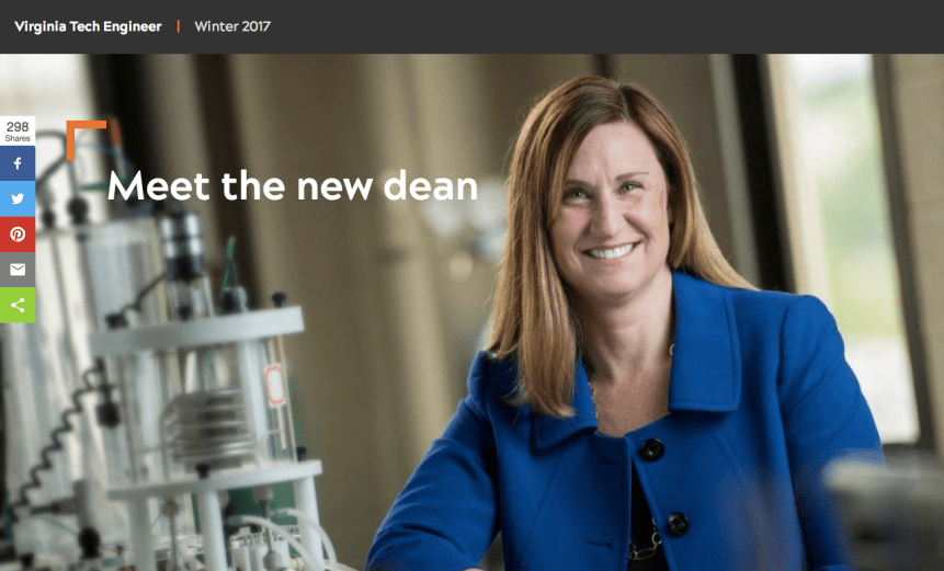 Screenshot of a cover image for a story in a digital magazine. Image is of Julia Ross smiling for a photo in a lab setting.