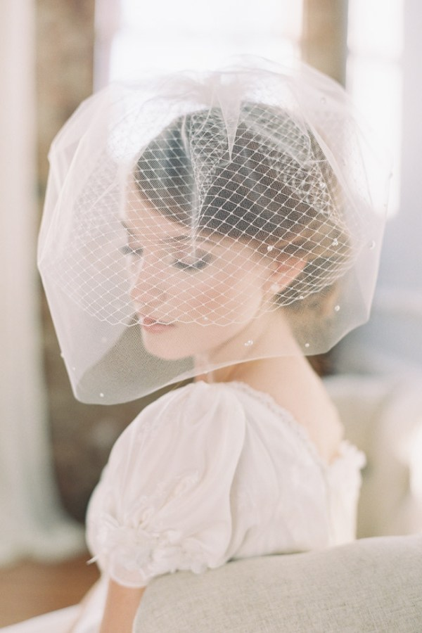 MILKY WAY PEARL DOTTED DOUBLE BIRDCAGE VEIL