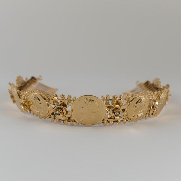 Wedding Crown Roman Coins Bridal Tiara Diadem Gold