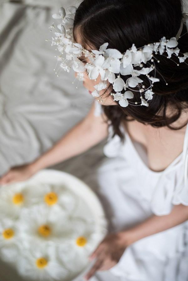 FAIRY TALE WHIMSICAL SILK FLOWER BRIDAL CROWN