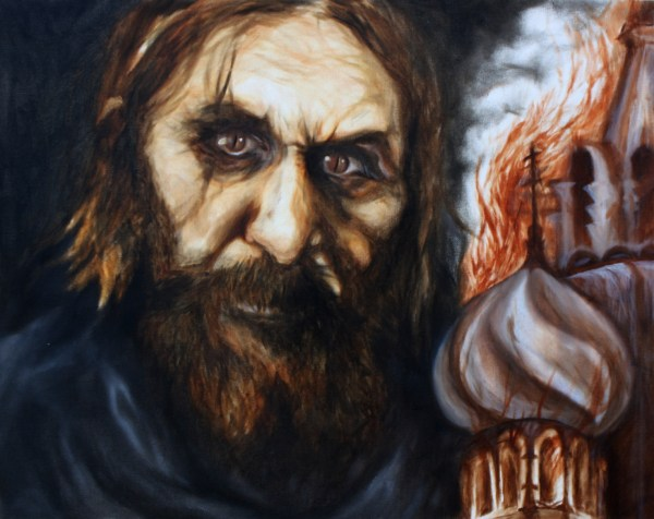 Rasputin leans into a burning Eastern Orthodox Church.