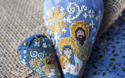 Nativity Berry - silk and linen | Original counted thread designs by Linda Stolz for Erica Michaels Designs | EricaMichaels.com