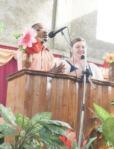Bobbi, the group leader, sharing during church