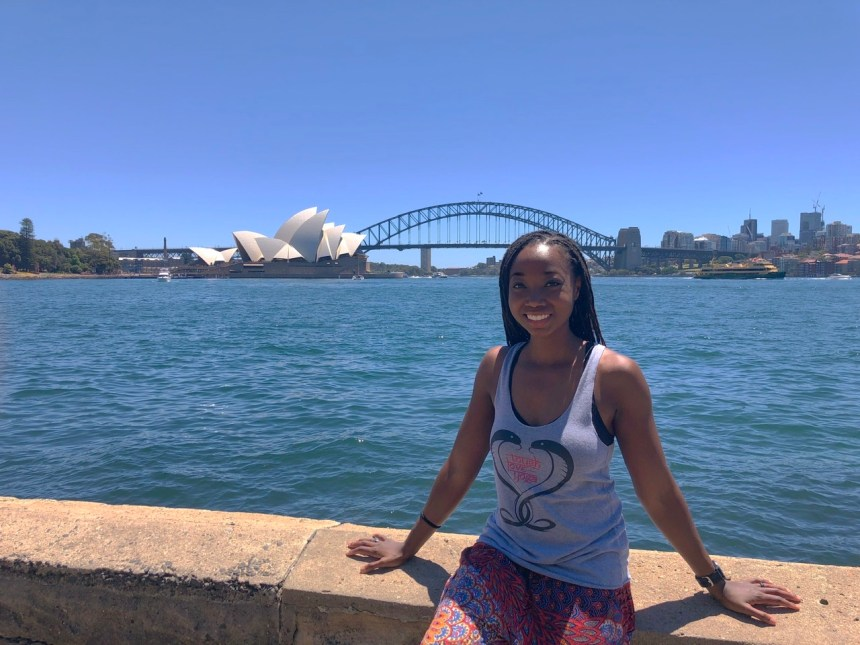Wellness blogger Erica Rascon visits Royal Botanic Gardens Sydney for meditation and views of Sydney Opera House