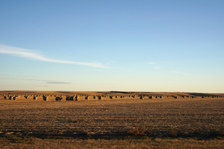 Round hay bales each weighing up to 1,500 pounds (680 kg) in Southwest Kansas, USA © 2018 ericarobbin.com | All rights reserved.