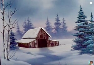 Bob Ross painting In the Midst of Winter, Season 31, Episode 12 © 2018 ericarobbin.com