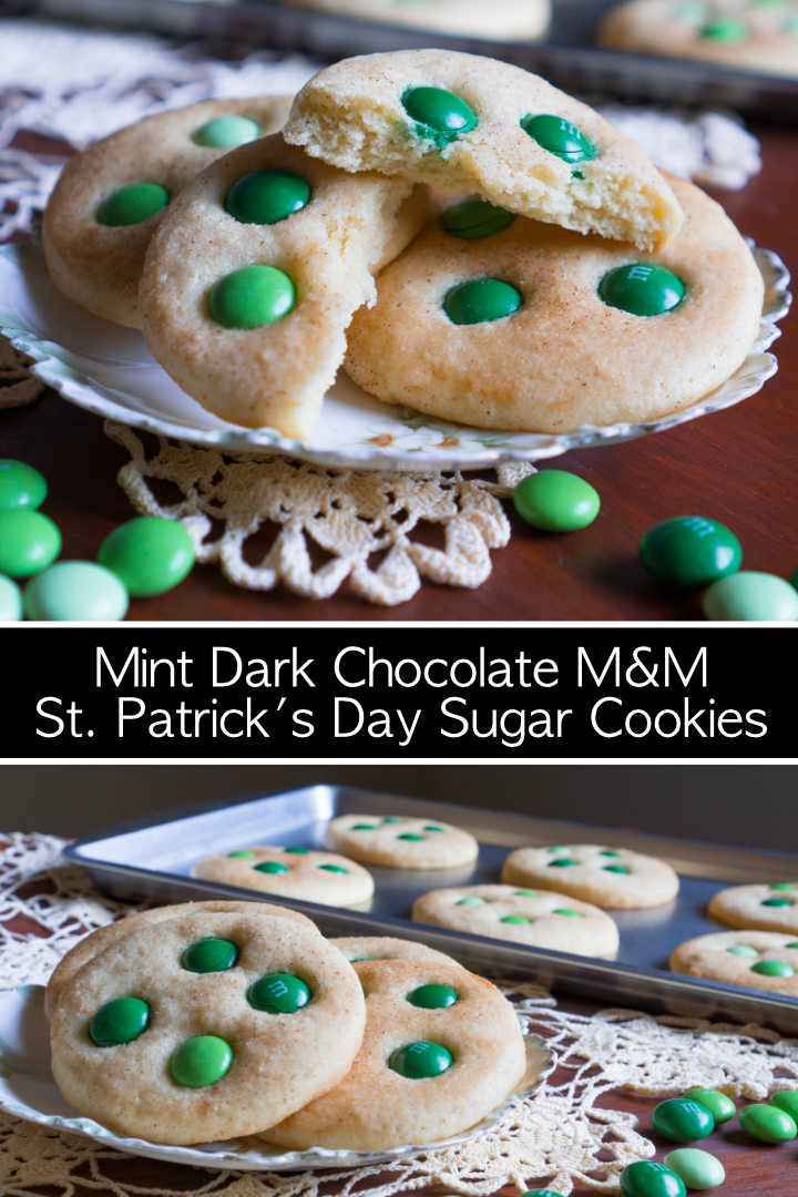 Mint Dark Chocolate M&M St. Patrick's Day Sugar Cookies © 2019 ericarobbin.com