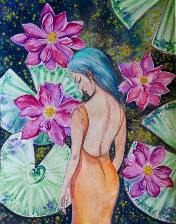 Sleeping in the Lily Pond (watercolor) | SillySallyMoon