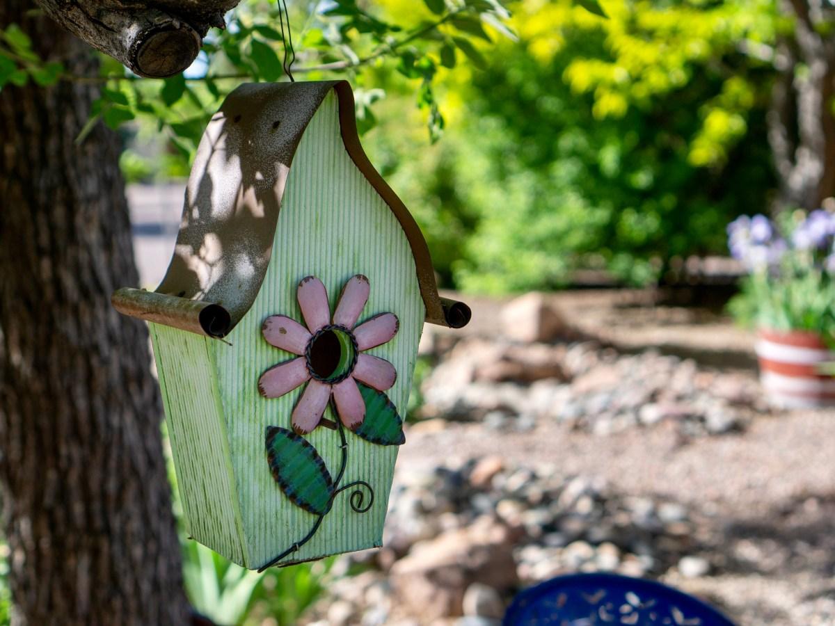 Garden Sanctuary Metal Bird House