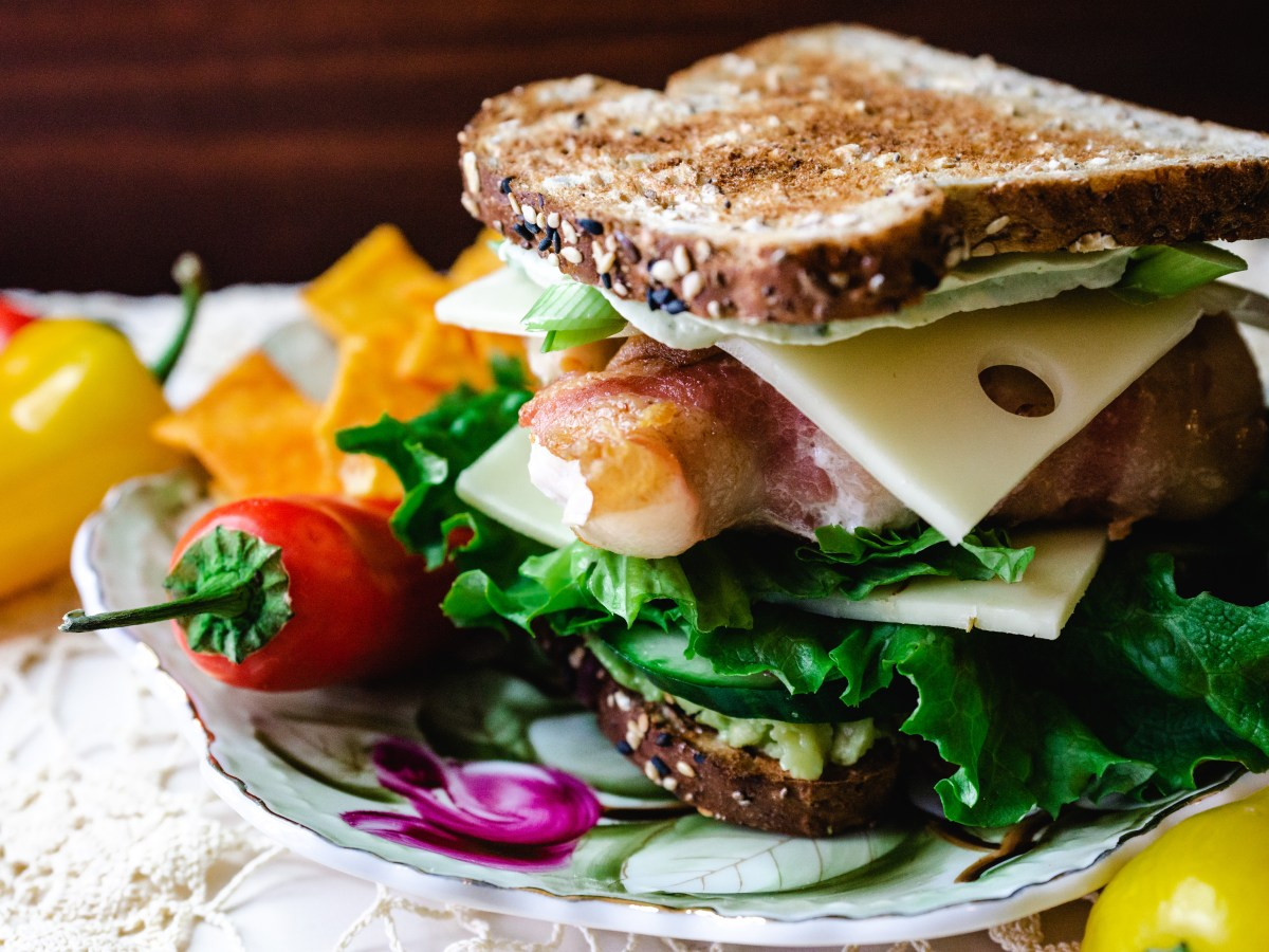 Sandwich with Basil Cream Cheese Quarter Angle
