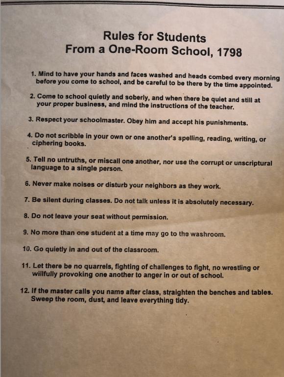 1798 School Rules | Erica Robbin