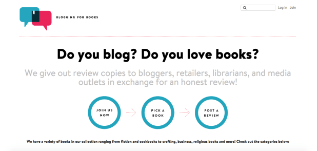 Blogging for Books landing page