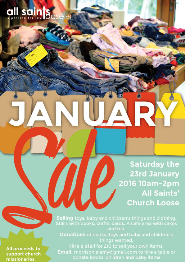 event flyer design for All Saints' Loose showing a table with folded clothes promoting a used clothes sale in support of charity