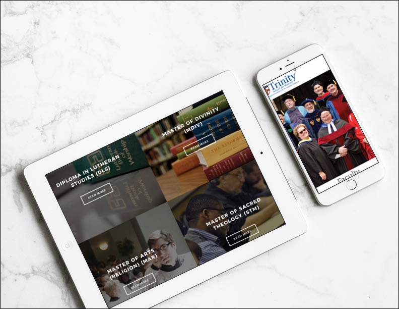 ipad and iphone on a white marble background showing the mobile website for Trinity School for Ministry in Ambridge, Pennsylvania
