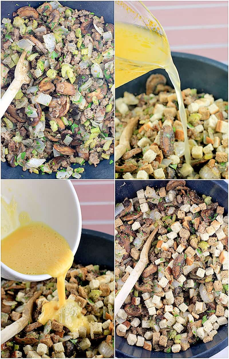 Collage of 4 photos showing recipe preparation. Clockwise: celery, onion, sausage, and herbs mixed together in a blue mixing bowl; stock being added; egg being added; stuffing added and all ingredients combined in the mixing bowl