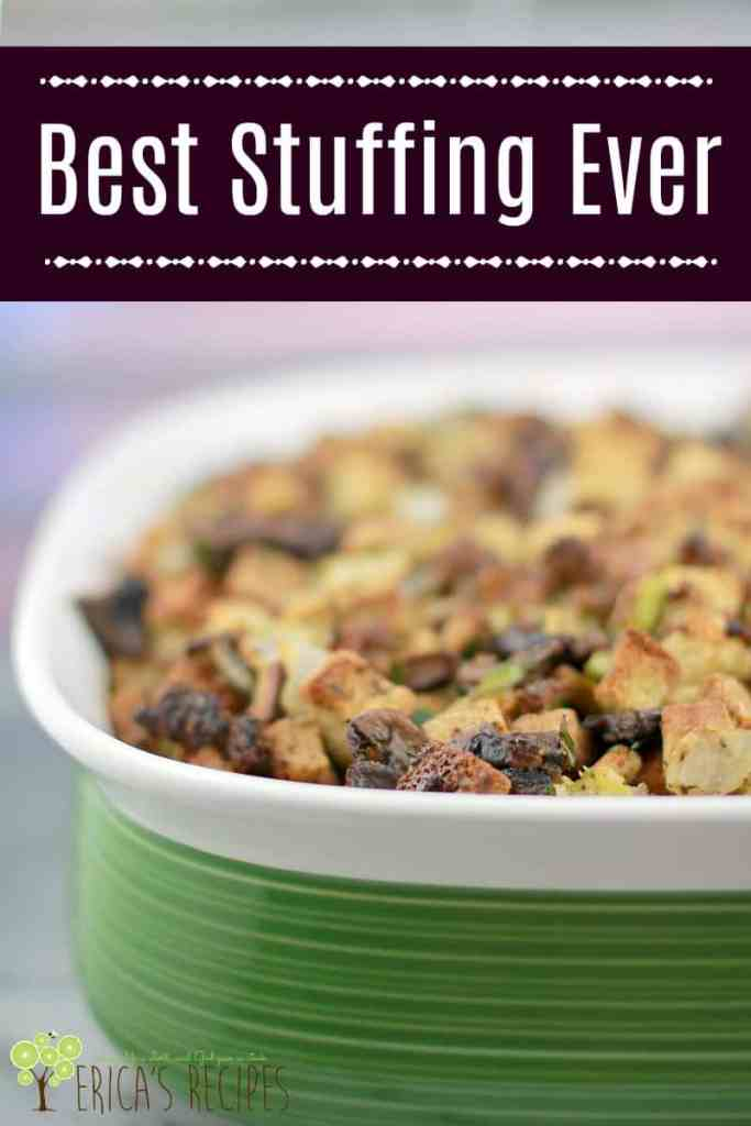 Homemade stuffing made with sausage, sage, beautifully browned mushrooms, and Pepperidge Farm stuffing will be the best stuffing recipe you have ever had.