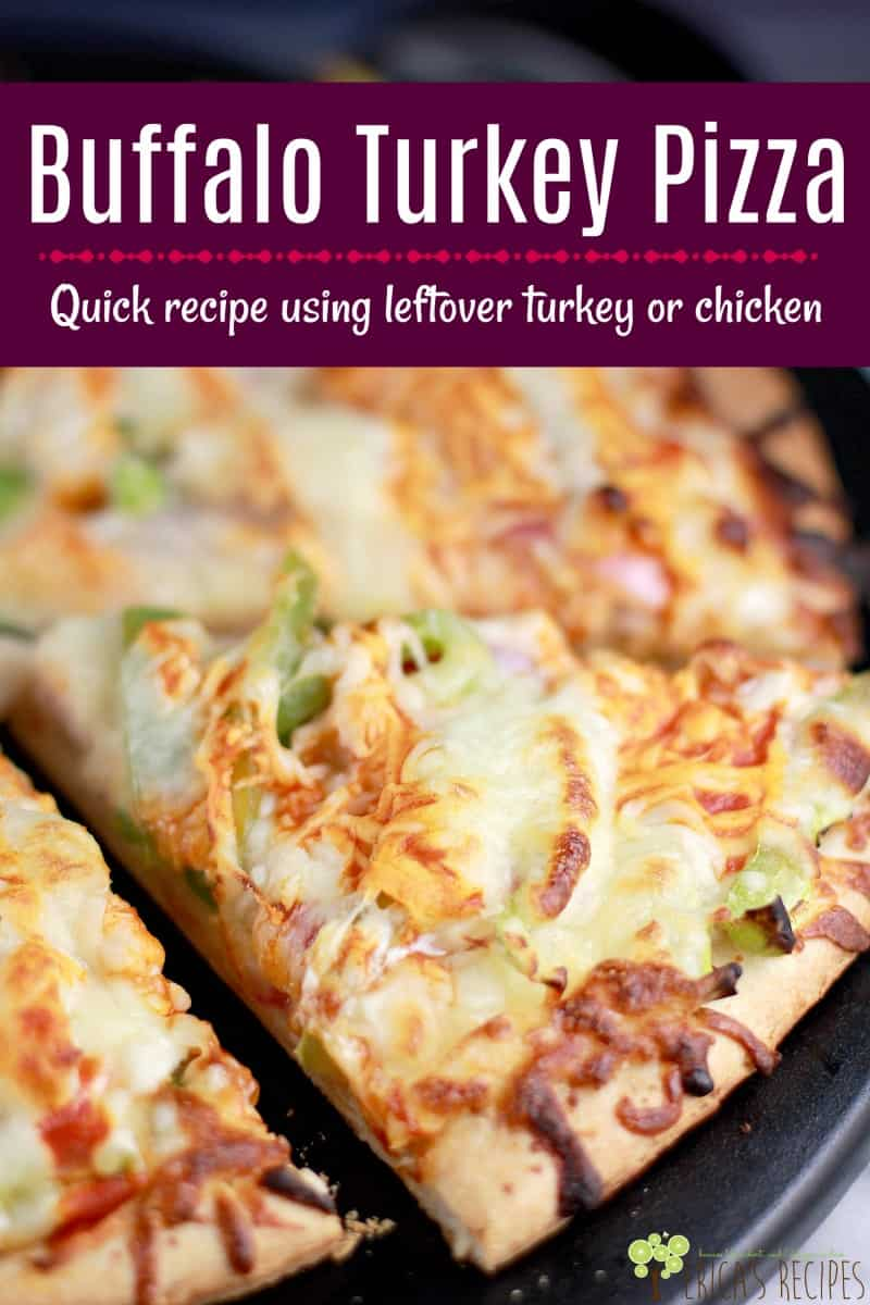 Buffalo Turkey Pizza is a tasty and clever leftover turkey recipe. And it works perfectly with chicken too for Buffalo Chicken Pizza. #pizza #thanksgiving #turkey #easyrecipe #easydinner #buffalochicken
