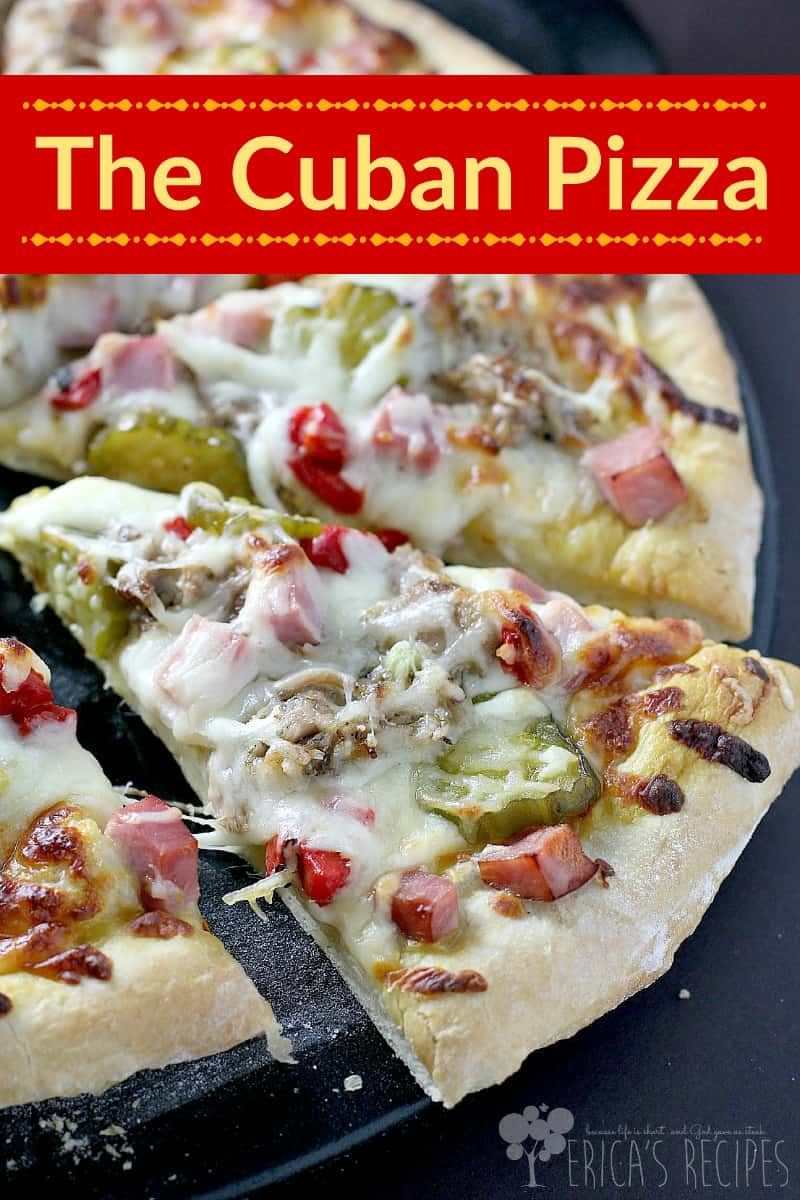 Slow cooked pork and sweet bread and butter pickles are just the beginning of this outstanding Cuban pizza recipe. With all the elements of the classic Cuban sandwich, this Cuban cuisine inspired, pizza Cubana is easy, fun, and DELICIOUS.