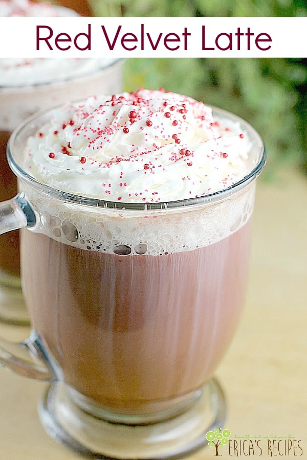 Red Velvet Latte! Decadent mocha latte with an extra touch of vanilla and made beautifully red velvet naturally with beet juice. Enjoy all the taste and joy of a fancy coffeehouse latte at home, affordably, in just a minute. #drink #recipe #food #mocha #redvelvet #latte #dessert