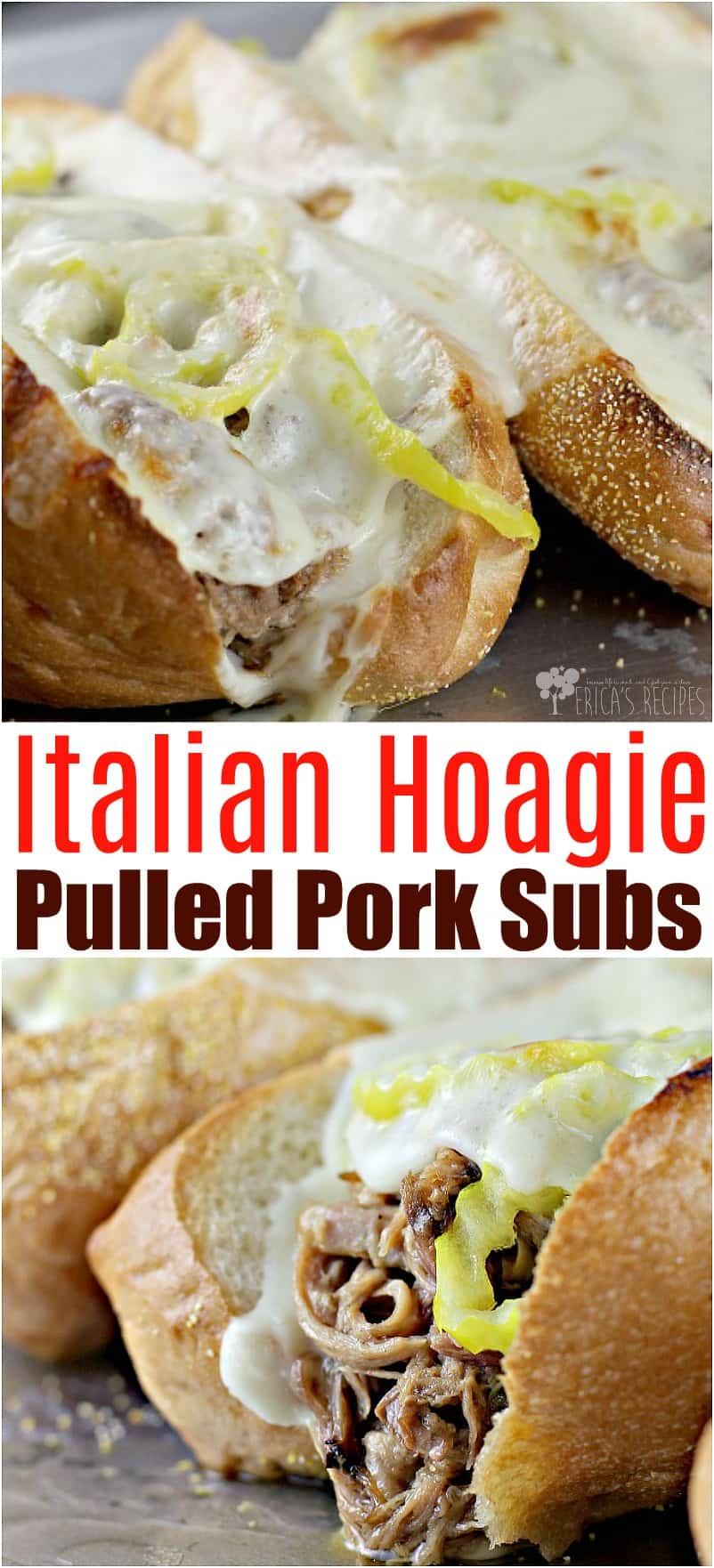 Italian Hoagie Pulled Pork Subs #recipe #pork #food #slowcooker #crockpot