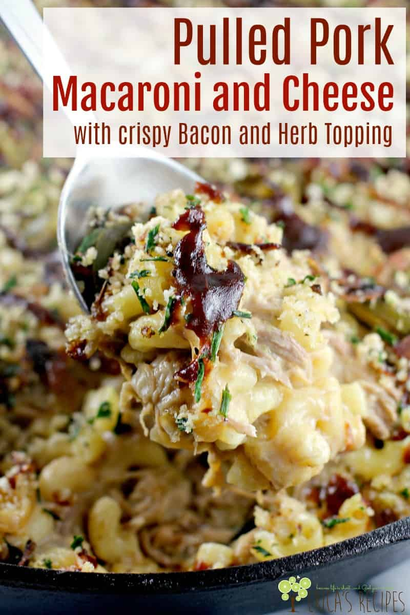 Pulled Pork Macaroni and Cheese with Crispy Bacon and Herb Topping #food #recipe #macncheese #macaroniandcheese #slowcooker #pulledpork #bacon