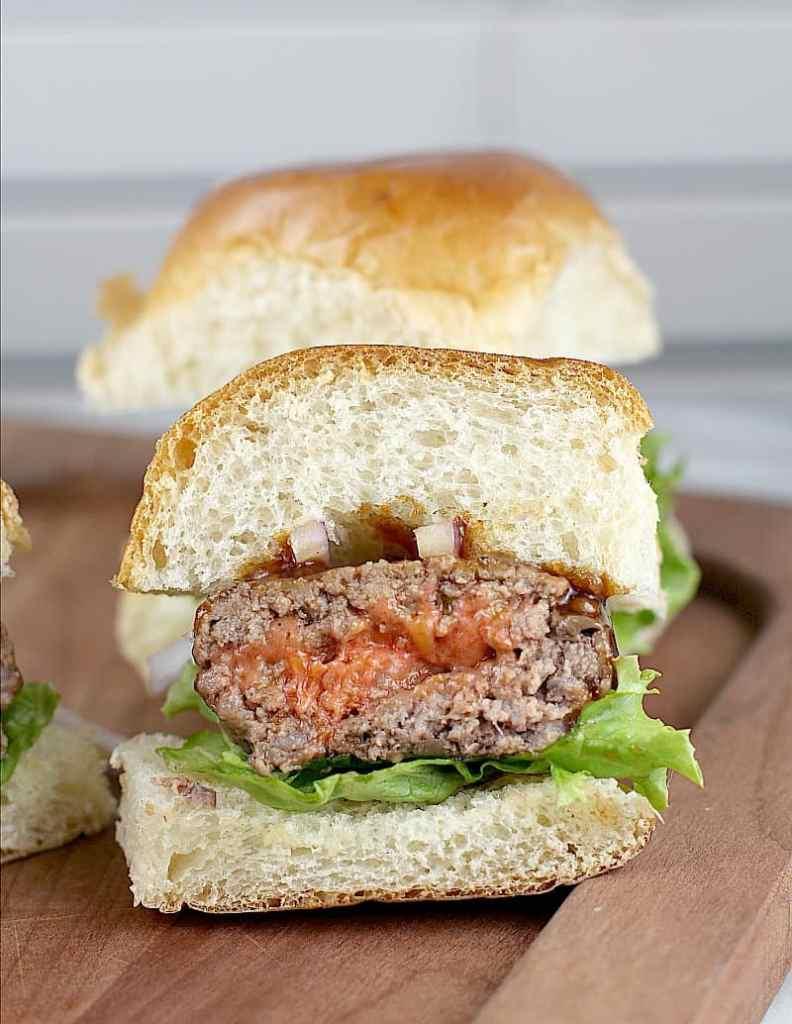 Port Cheddar Stuffed BBQ Sliders #InspireWithCheese #ad