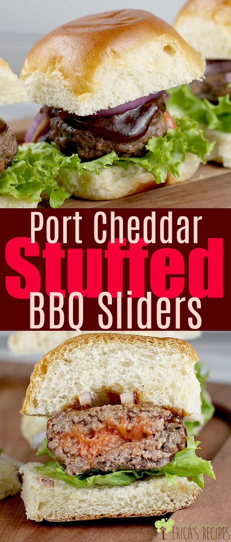 Port Cheddar Stuffed BBQ Sliders and no grill needed! #InspireWithCheese #ad #sliders #beef #recipe