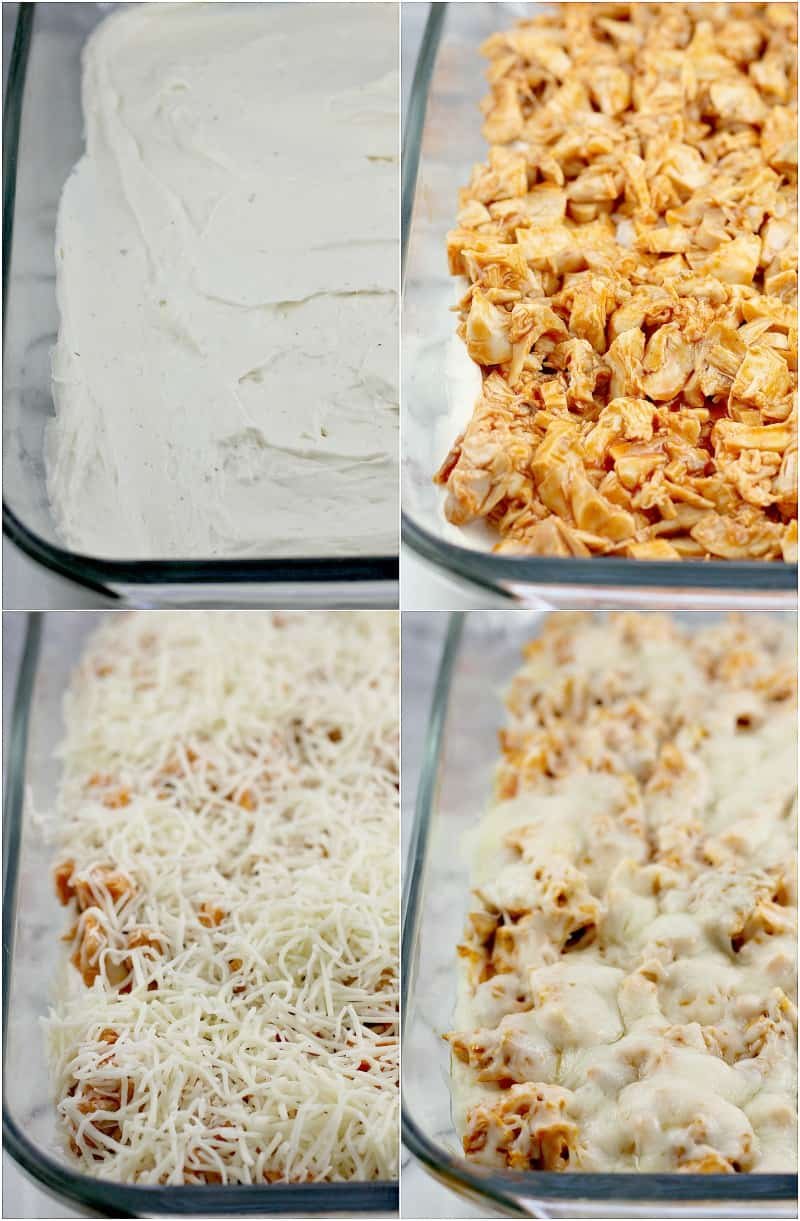 Collage of 4 photos showing the different layers: cream cheese layer, chicken, cheese (uncooked), cheese (cooked)