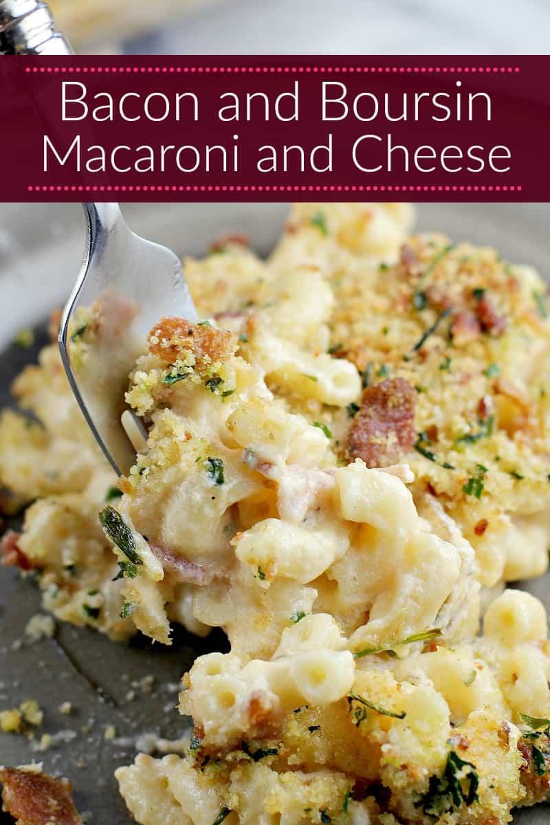 Bacon and Boursin united in a creamy macaroni and cheese. Bacon and Boursin Macaroni and Cheese is the cheesy mac recipe dreams are made of.