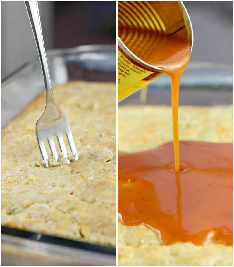 Collage of 2 photos; fork pricking the cooked biscuit layer all over; enchilada sauce being poured from the can onto the biscuit layer