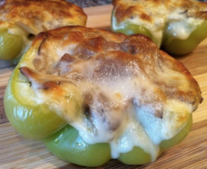 http://www.food.com/recipe/philly-cheesesteak-stuffed-peppers-513064