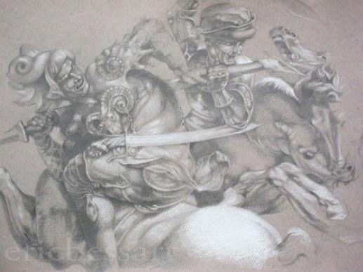 Copy of Ruben's Drawing of Da Vinci's Battle at Anghiari, Graphite/White Chalk, 16x20, 2011