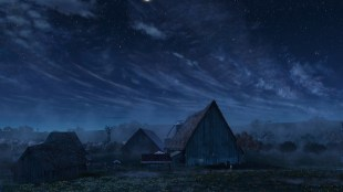 Sky and background matte painting. Photoshop, Vue and Maya.