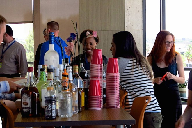 zappos-employee-one-year-anniversary-party-drinks