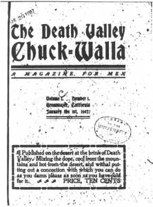 The front cover of the Chuckwalla. The newspaper was printed on butcher paper, so the archive copy did not reproduce well.