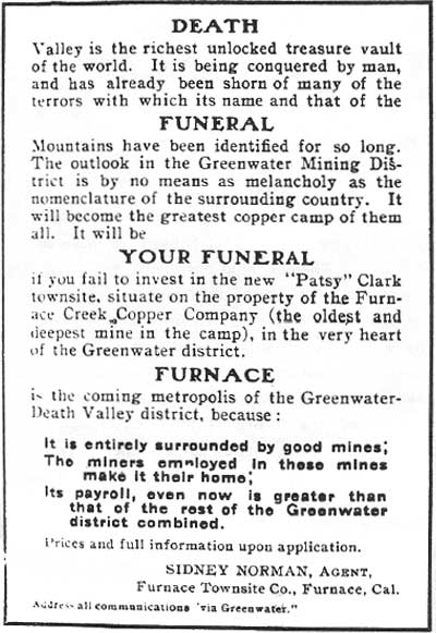 March 1907 ad appearing in the Chuckwalla.