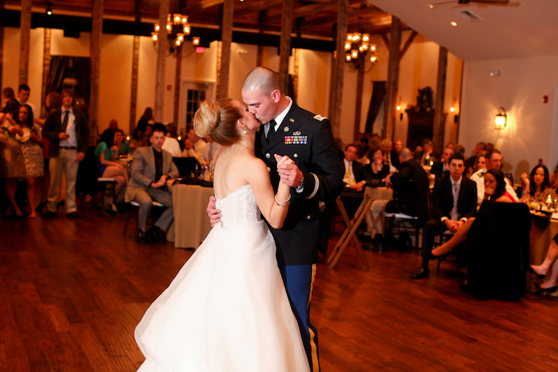 Elyce and David during their First Dance. Eric Herod served as Wedding Entertainment Director® and helped set this moment by sharing their Love Story. (Photo credit: Carley Rehberg Photography)